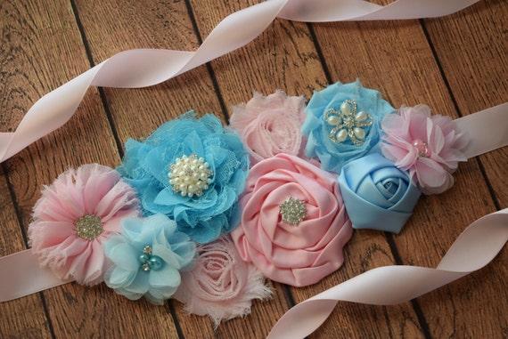 Sash, light pink and light blue  Sash ,M #2 ,  flower sash, reveal gender sash, flower Belt, maternity sash