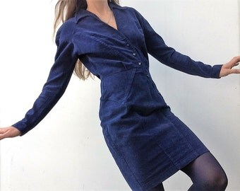 Vintage Thierry Mugler dress 80s blue thick cotton