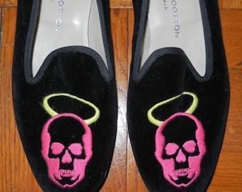 Vintage 90's Stubbs & Wootton Black Velvet Loafer Pink Skull w/ Halo Size 7