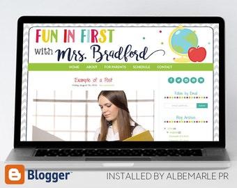 Premade Blogger Template, Mobile Responsive, Teacher Blog Template - Mrs. Bradford