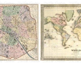 Vintage Map Prints 8 x 10