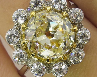 3.82ct Antique Vintage Canary Old Mine Diamond Cluster Engagement Wedding 18k Yellow Gold Platinum Ring
