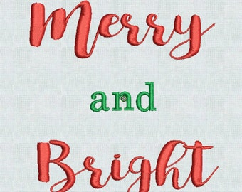 Merry and Bright Christmas Embroidery Designs Holiday Pes Format Instant Download,  Christmas Gifts