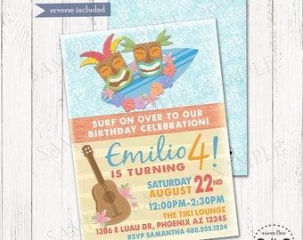 Surfs Up Luau Birthday Invitation Printable, Tiki Beach Party Digital Invite, Surf Party, Teen Beach Party, Pool Party, Summer Birthday
