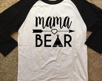 Mama Bear 3/4 Sleeve Raglan Tshirt