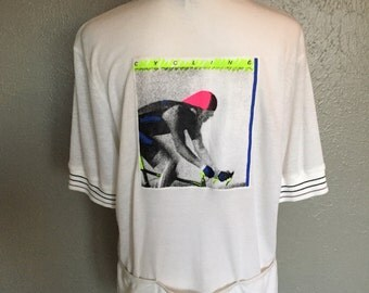 Old School Hind Cycling Biking Shirt Neon and White With Original Tag Size Large