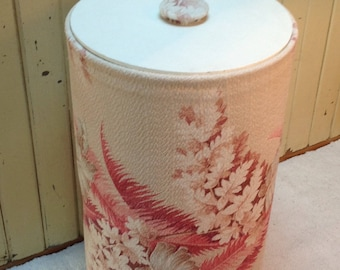 Midcentury hamper  / barkcloth / laundry hamper  / 50's or 60's