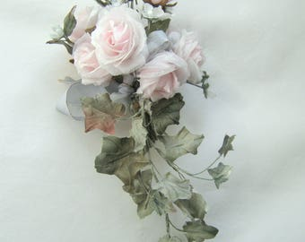 Bouquet of pink roses from silk for dolls in vintage style and not only