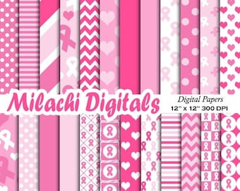 60% OFF SALE Cancer ribbon digital paper, breast cancer awareness scrapbook papers, wallpaper, background - M376