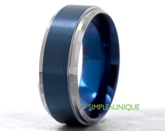 Mens Blue Ring, Blue Wedding Band, Blue Ion Plated Tungsten Carbide Ring, Fashion Trendy Mens Unique Wedding Ring Metal Jewelry