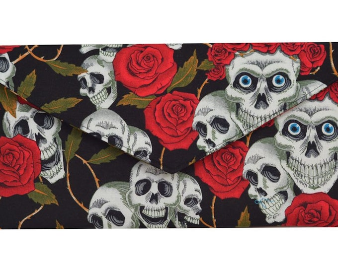 Day of the Dead Red Skulls & Roses  Clutch Bag