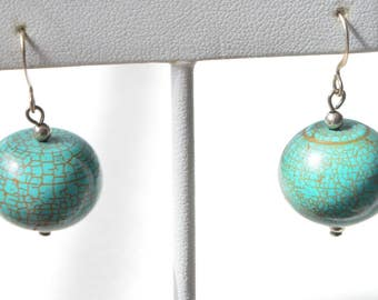 Vintage Natural Blue Turquoise Round Bead Sterling Silver Hook Dangle Earrings 21 Grams