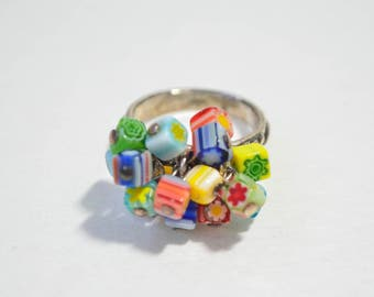 Vintage Hand Carved Sterling Silver 925 Colorful Murano Art Glass Cluster Ring Size 6.75-7