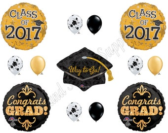 CLASS of 2017 Gold & Black GRADUATION Balloons Decorations Supplies Party