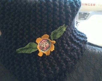 Hand knitted chunky snood with embroidered flower detail