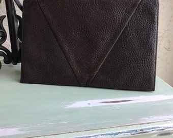 Vintage Clutch, Leather Clutch, Brown Leather Clutch, Pebble Leather Purse, Brown Clutch, Vintage Clutches, Leather Clutches, Brown Handbag
