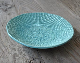 Light Turquoise Pottery Plate, Doily stamped Handmade Ceramic, Serving Dish, Home Decor, Gift, Tapa Platter