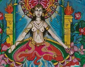 Water Dakini,Acrylic painting,Goddess Art,Tapestry print(print on fabric)