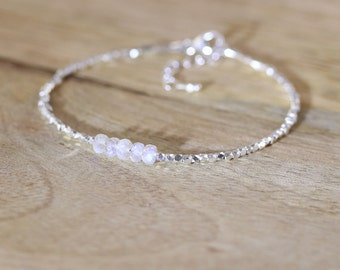 Rainbow Moonstone, Sterling & Fine Silver Bracelet. Dainty Beaded Stacking Bracelet. Flashy Blue AAAA Gemstone Jewelry. Delicate Jewellery