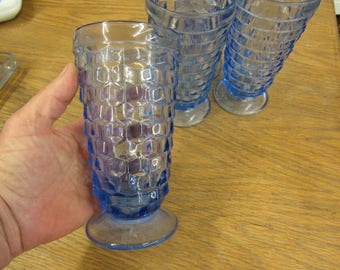 Set of 4 Blue Indiana Glass Tall Tumblers