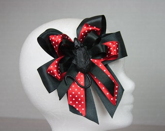 Sweet Gothic Polkadot hair clip/brooch with rat