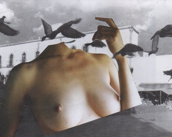 Collage of surrealist art. -The flight