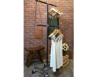 Clothing Rack 4-Way Rolling Clothing Rack Black Industrial Garment Rack