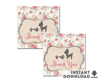"2x2"" Thank You Favor Tags Printable Shabby Pink Floral Woodland Fawn Dear Baby Shower Decorations Printable (Instant Download) No.698BABY"
