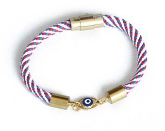 Nautical Rope Charm Bracelet/ Evil Eye Charm Bracelet/ Magnetic Bracelet/ Women's Rope Bracelet/ Boho Rope Bracelet/ Custom Rope Bracelet