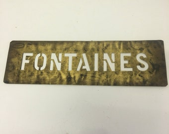 French Brass Stencil (fountaines ! ) makers stamp in corner