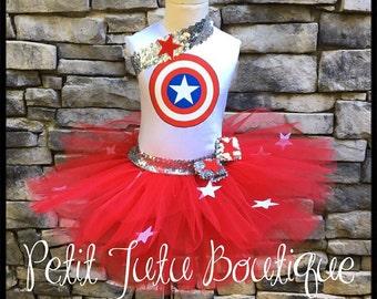 Captain America Birthday Tutu set any size available 12m to 8y FREE Headband