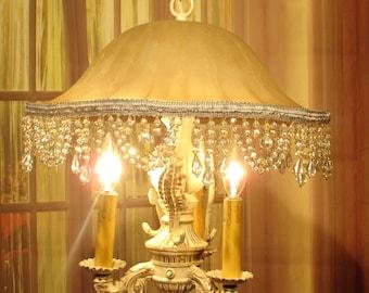 Antique Vintage Chandelier Glass Pendant Fixture 3 Light Sea Horses