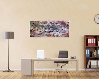 Original abstract artwork on canvas ready to hang 60x140cm #544