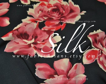 Red Rose Black Silk Crepe by the yard