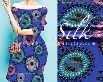 Blue Silk Mandalas Fabric medallions fabric by the yard