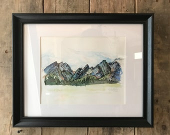 Grand Tetons Watercolor Painting