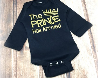 Prince Has Arrived Onesie, Newborn Boy Onesie, Baby Boy Onesie, Black and Gold Bodysuit, New Baby Gift, Baby Shower Gift, Take Home Outfit