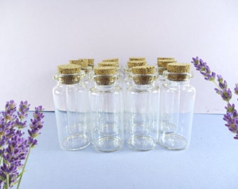 10ml Glass bottles, clear Glass Jars, Vials with corks, small bottles, capacity of 10ml - in sets of 12 units