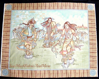 "Ceremonial Dance Southwestern Wall Or Quilt Fabric Panel~35""x45""~Indians~Cotton~Cranston VIP"