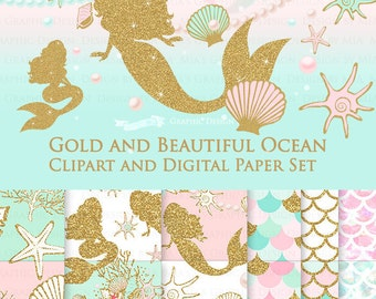 20% off Gold and Beautiful Ocean / Mermaid Clip Art + Digital Paper Set - Instant Download