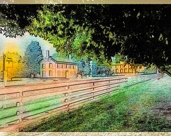 Lantern Light in a Rural Kentucky Village II: A Fine Art Photo Still Life Watercolor/Illustration Print
