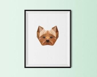 Yorkie Portrait | Yorkshire Terrier Dog Art Print | Yorkshire Terrier Custom Print | Yorkshire Terrier Geometric Art | Yorkshire Terrier Dog