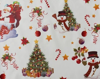 Christmas PVC Tablecloth, Snowman Tree Santa Xmas Patterned, Vinyl Oilcloth Style Fabric In Half & Full Metres