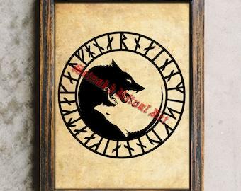 Viking art, Nordic wolf, Fenrir, Runes, Rune art, Scandinavian poster #441