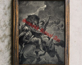 Viking art, Odin and Fenris wolf, Nordic print, Scandinavian poster #456