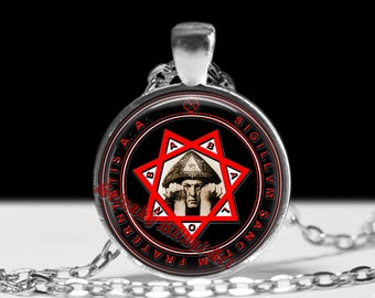 Crowley Seal pendant, Mark of the Beast amulet,  Star of Babalon necklace, Thelemic jewelry #465