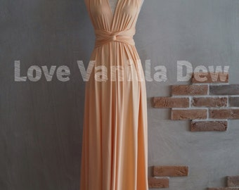 Bridesmaid Dress Infinity Dress Peach Floor Length Maxi Wrap Convertible Dress Wedding Dress