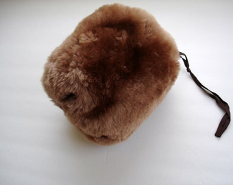 Shearling Lamb's Wool Child's Muff with Cord Wrist Loop 1950's