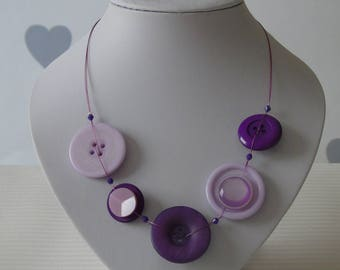 Purple Button Necklace - Button Jewellery - Gifts for her - One of a kind