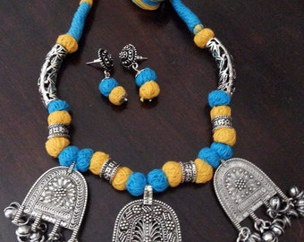 Sale Yellow and Blue Dori Necklace Indian Handmade Necklace German Silver Pendants Thread Beads Necklace and Earrings Jewelry Set Jewellery